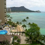 Waikiki beach in Hawaii with Diamond Head in the background.